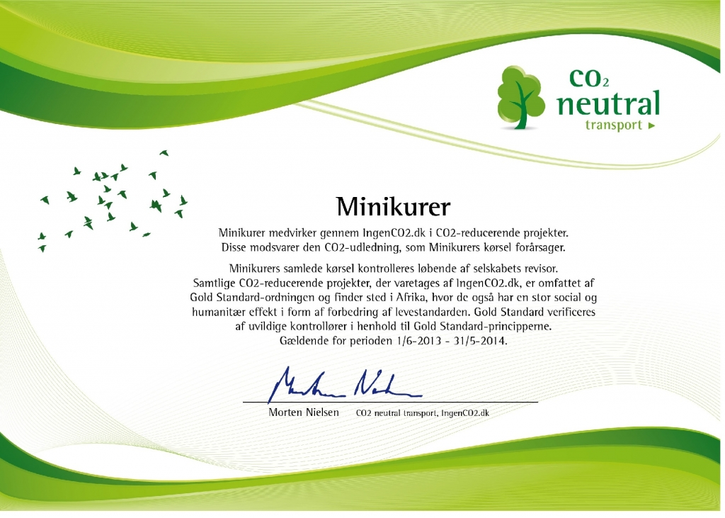 Certifikat -CO2 neutraliseret transport 2