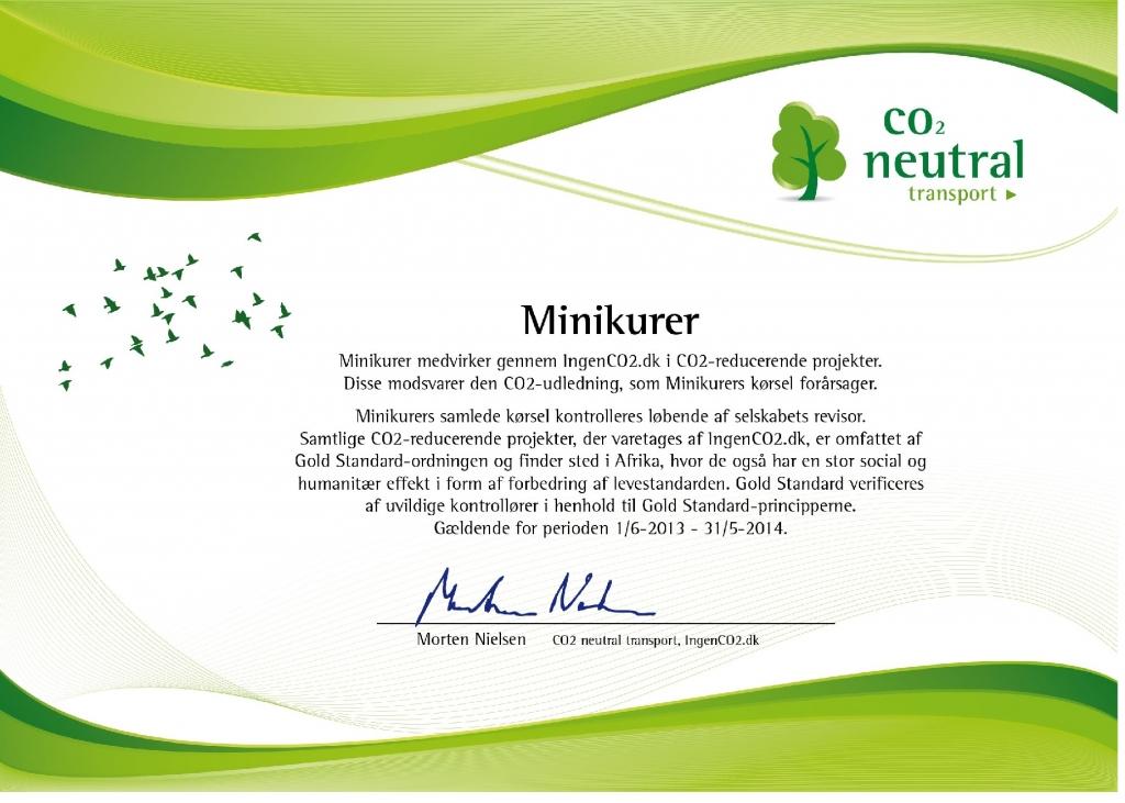 Certifikat -CO2 neutraliseret transport 2